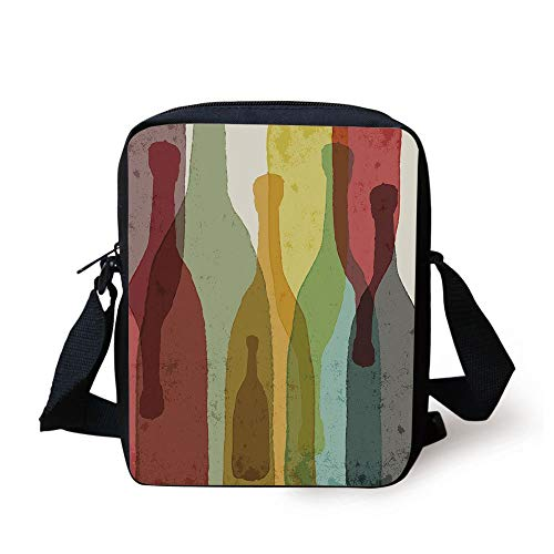Wine,Abstract Composition with Watercolor Silhouettes Bottles of Wine Whiskey Tequila Vodka Decorative,Multicolor Print Kids Crossbody Messenger Bag Purse