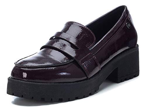 XTI - Zapato mocasín para Mujer - Tacón Cuadrado - Burdeos - 36 EU