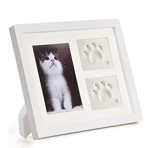 Bilderrahmen und Pfotenabdruck-Set weiß für Hunde oder Katzen, Haustierbesitzer, 3d Gipsabdruck Set, Heimdekoration, Geschenke
