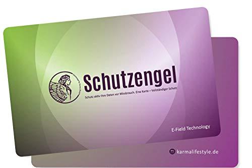 2 Stück Schutzengel RFID Blocker Karte zum Schutz vor Datendiebstahl – passt in jedes Portemonnaie – schützt Ihre Daten, auch wenn sie abgelenkt sind (Grün/ Lila)