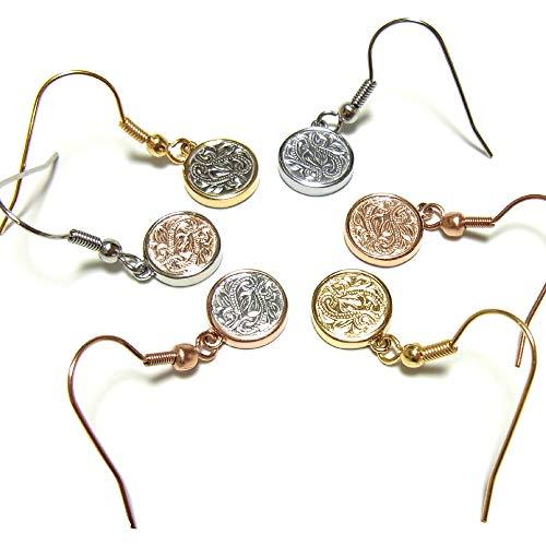【片耳用】ハワイアンジュエリー ピアス メダル コイン レディース プレゼント 金属アレルギー対応 サージカル ステンレス スクロール カレイニキニ イエローゴールド×スチールシルバー D