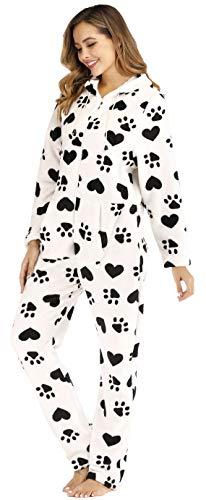 Berdith Combinaison pyjama douillette pour femme avec capuche et manches longues avec fermeture...