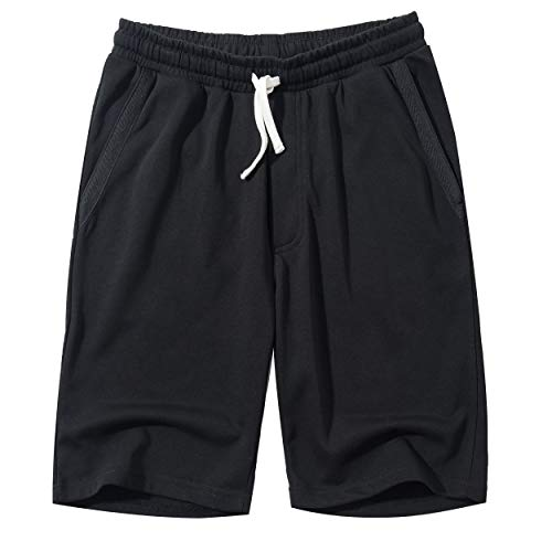 MUSE FATH Mens Cotton Casual Elastic Waist Loose Fit Jersey Jogger Shorts-Black-XL