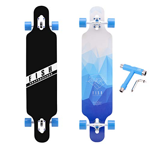 FISH SKATEBOARDS 41-Inch Downhill Longboard Skateboard Through Deck 8 Ply Canadian Maple, Complete Cruiser, 4 Styles