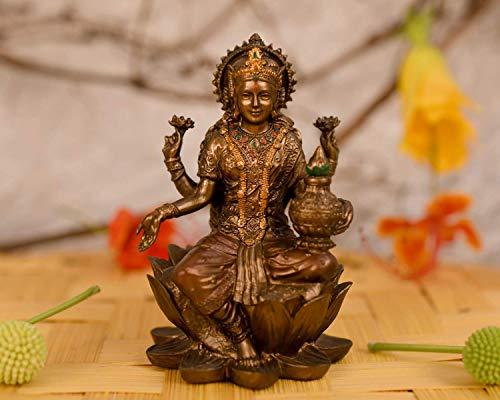 Collectible India Goddess Lakshmi Idol Hindu Laxmi Goddess Statue Home Office Decor (Size 8cm x 5cm)