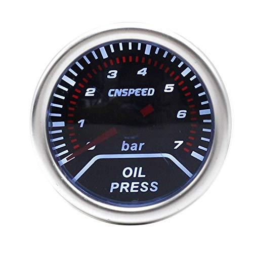 KEKEYANG Medidor Panel de instrumentos 2' 52mm 12V Auto Car prensa de aceite Indicador de presión de aceite 0-7Bar Guage Con sensor de humo lente de carreras de coches la presión del metro de motores,