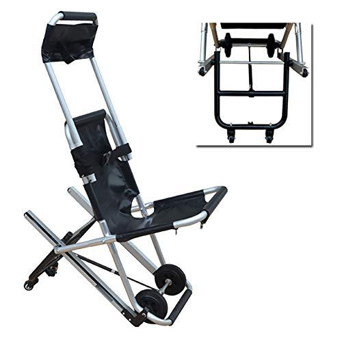 Dbtxwd Crawler Stair Chair, Auf und Ab Treppenbahre Rollstuhl, Feuerwehrmann Evakuierung Medical Transport Chair,Schwarz