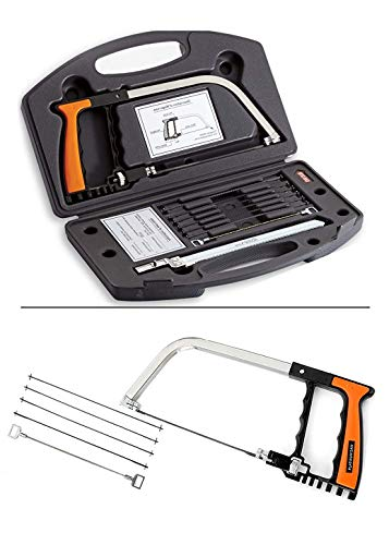 XISXI 15-in-1 Universal Hand Saw Kit Toolbox Of Multi Blades Set Works As Hacksaw Coping Bow Jab Rip Pruning Chain Handsaws A Cutter Suitable To Cut Wood PVC Pipes Gift-s For Men (Black)