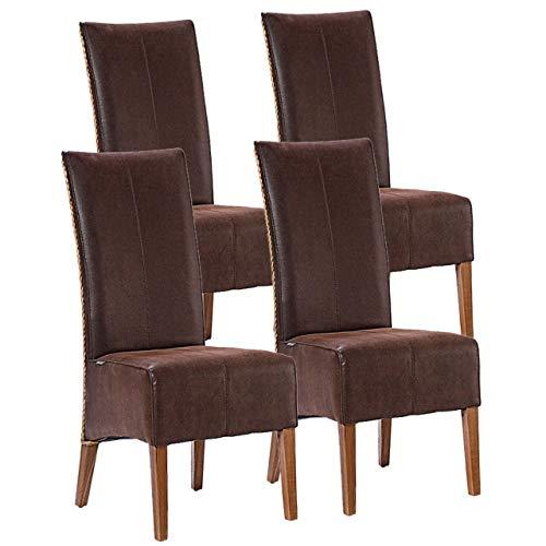 Soma Rattanstühle Set Antonio 4 Stück Polsterstühle Esszimmerstühle braun oder schwarz (BxHxL) 47 x 105 x 58 cm Cognac