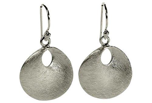 SILBERMOOS Ohrhänger Scheibe Kreis rund gebogen gebürstet 925 Sterling Silber Ohrschmuck Ohrringe