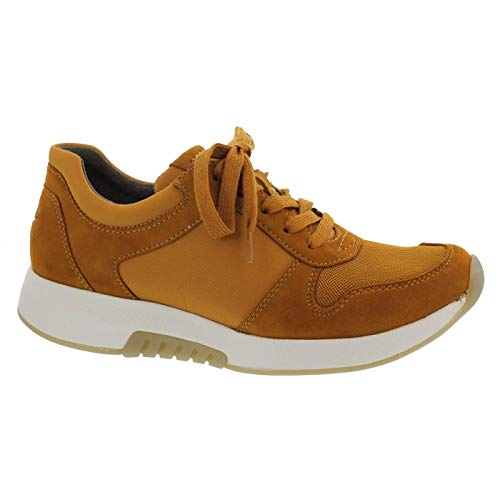 Gabor Damen Low-Top Sneaker 36.946, Frauen Sneaker,Halbschuh,Schnürschuh,Strassenschuh,Business,Freizeit,Curry,39 EU / 6 UK