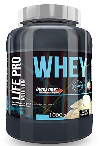 Life Pro Whey 1Kg   Suplemento Deportivo, 78% Proteína de Concentrado de Suero, Protege Tejidos, Anticatabolismo, Crecimiento Muscular y Facilita Períodos de Recuperación, Sabor Chocolate Blanco