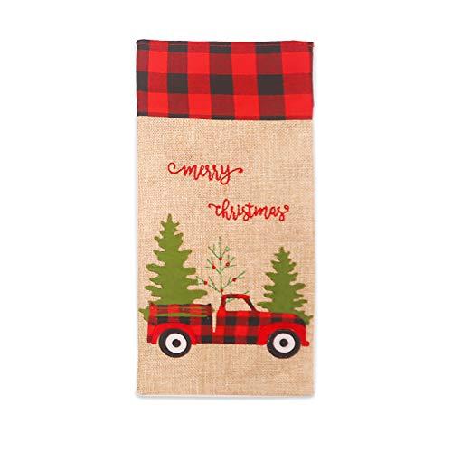 YOSEMITE - Funda para botella de vino, diseño a cuadros, diseño de árbol de Navidad, color rojo y negro