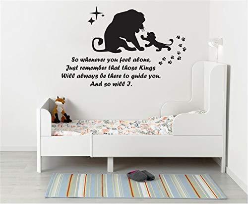 wandaufkleber 3d König der Löwen Aufkleber König der Löwen, wann immer Sie sich allein fühlen Wand Aufkleber Kunst Zitat Kids Nursery Vinyl Aufkleber