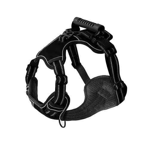 Arnés para perro sin tirar, ajustable, transpirable, arnés para mascotas para perros pequeños, grandes, suministros de entrenamiento (XL, negro)