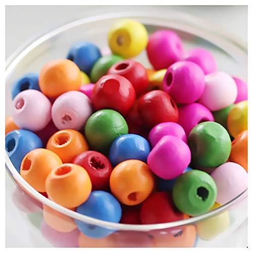 LEBENSWERT 1000 Stück Holzperlen zum auffädeln Kinder Bunt 7 x 8mm Natürliche Runde Perlen Holz basteln für Schmuck Arts Crafts Halskette Armreif