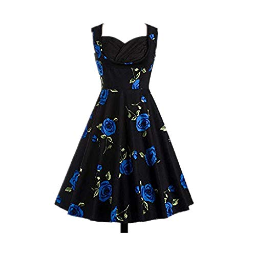 Nobrand Ärmelloses Kleid im Retro-Stil mit Rosenmuster Gr. L, blau
