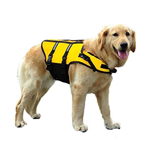 HZQIFEI Chaleco Salvavidas para Perros, Chaleco Seguridad Natación Reflectante Ajustable con Mango para Perros Pequeños, Medianos y Grandes (Amarillo, 6XL)