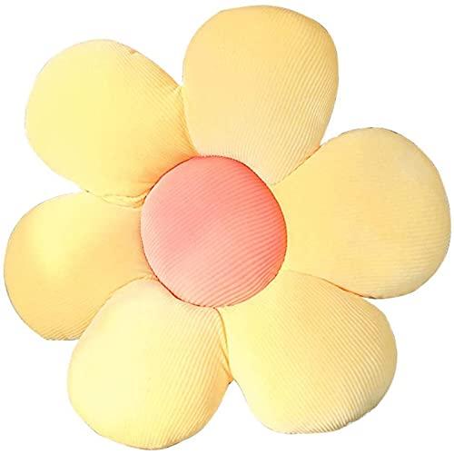 BinaryABC Flower Floor Pillow Seating Cushion,Daisy Sunflower Floor Pillow Chair Back Cushion(Yellow)