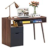 Tangkula Computer Desk with Drawers, Multipurpose Home Office Desk Writing Desk with Spacious Desktop & Storage Shelf, Computer Table Workstation, Desk for Bedroom Home Office (Brown)