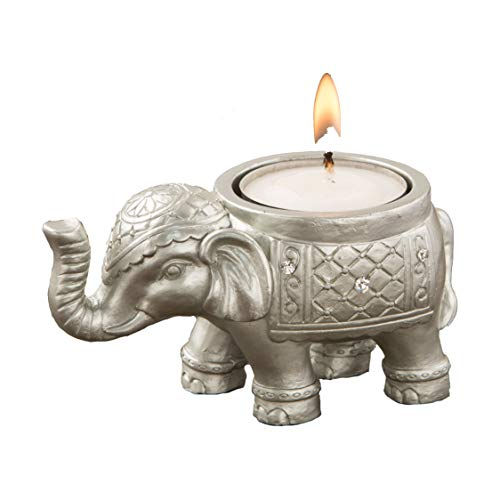 FASHIONCRAFT 8693 Good Luck Silver Indian Elephant Candle Holder, Tealight Candle Holder, Event Favor, Gift Favor, 1 Piece