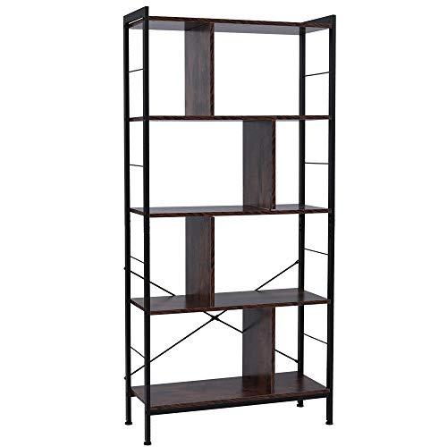 HNWNJ Estante de almacenamiento para el hogar de madera de acero, 5 capas escalonadas con fijaciones cruzadas en forma de X, marco de hierro MDF, 74 x 30 x 154,5 cm, estilo retro, color marrón
