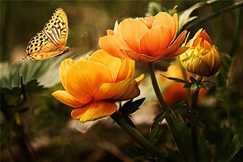 HCYEFG 1000 Pezzi di Puzzle Fotografico Fiore di Arancia con Farfalla Giocattoli Fai-da-Te per Adulti Decorazione da Collezione