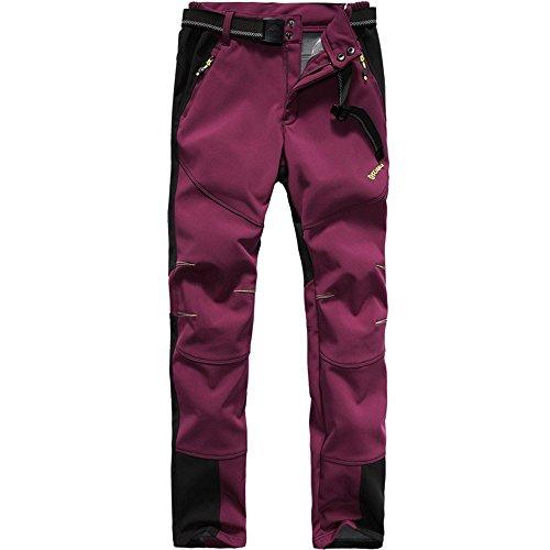 FLYGAGA Femme Coupe-Vent Softshell Doublé Polaire Pantalon Imperméable Outdoor Sport Camping Randonnée Trekking Pantalon (XX-Large, Rouge Sombre)