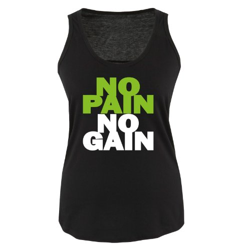 Comedy Shirts - NO Pain NO GAIN - Damen Tank Top - Schwarz/Weiss-Grün Gr. XL