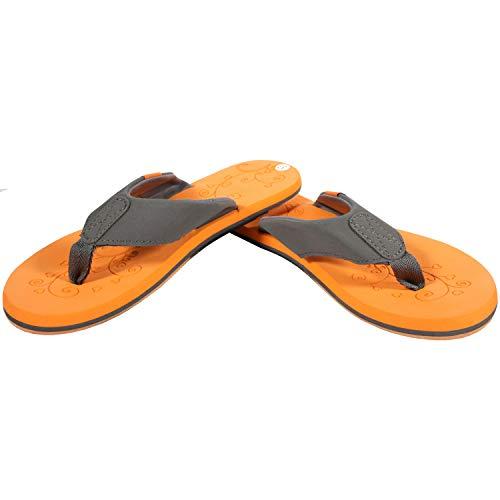 Flip On Zehentrenner Sandalen für Damen & Herren, Badelatschen, Strandschuhe für Büro, Alltag, Freizeit und Sport, elegante Bade- Freizeitschuhe für Sommer ZT2 Größe 39, UK 5.5 Orange, D. grau