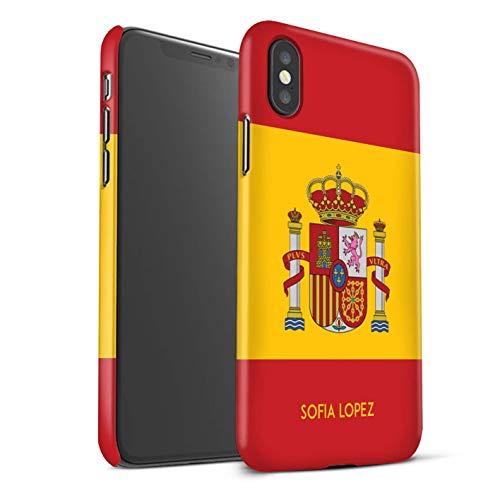 eSwish Personalizado Bandera Nacional Nación Personalizar Funda Mate para el Apple iPhone XS MAX/Español/De/España Diseño/Inicial/Nombre/Texto Carcasa/Estuche/Case Snap
