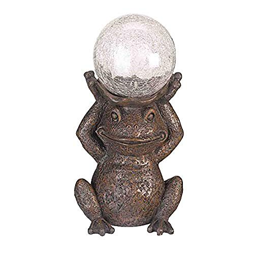 Garden Mile Magic Garden Frog with Crystal Ball Solar Power Toad Pond Light | Hand Painted Poly Resin Tarnished Bronze Effect Garden Statue Ornament | Outdoor Garden Patio and Pond Lighting