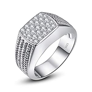 Bonlavie Herren Ringe Solid 925 Sterling Silber Pflastern Ringe Weiß Zirkonia CZ Eheringe Verlobungsringe