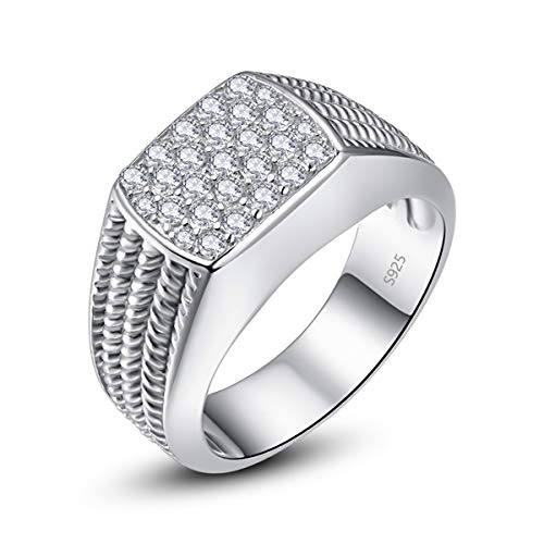 Bonlavie Anniversary Ring Fashion Jewellery for Him Round Cut White CZ 925 Sterling Silver Rope Rings Size Y