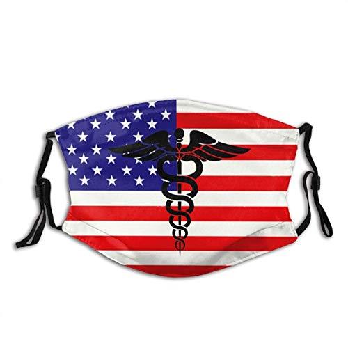 Mundschutz Nurse Medical Caduceus Adult Schal Waschbare Wiederverwendbare Gesichtsbedeckung mit verstellbarem Earloop Black Filter
