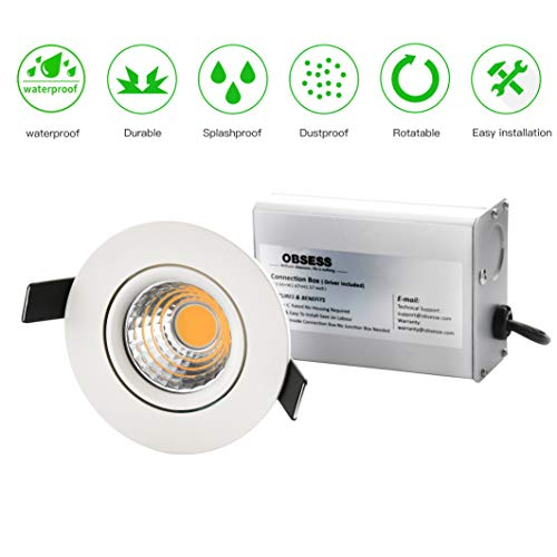 OBSESS 3-Inch IP54 Waterproof Shower Light with 8W COB LED Downlight, Damp Location Use, Shower Room Light, Shower Room Downlights Ceiling Light, White, Aluminum, Dimmable, Neutral White 4000K