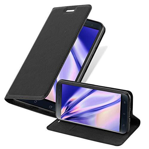 Cadorabo Hülle für Asus ZenFone 3 in Nacht SCHWARZ - Handyhülle mit Magnetverschluss, Standfunktion & Kartenfach - Hülle Cover Schutzhülle Etui Tasche Book Klapp Style