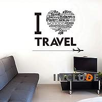 ウォールステッカー トラベル 旅行大好き i love travel 東京 ベルリン ロンドン パリ ロゴ 首都 飛行機 旅行代理店