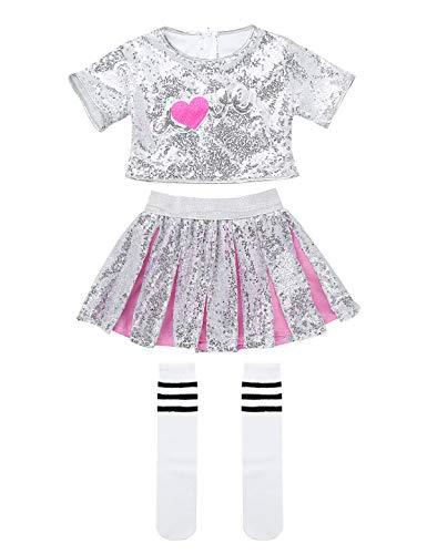 YiZYiF Disfraces Animadora Traje Hip Hop Nias 3Pcs Conjunto Brillante Danza Callejera Camisa Falda Corta Calcetines Disfraz Bailarina Rendimiento Rosa y Plateado 7-8 Aos