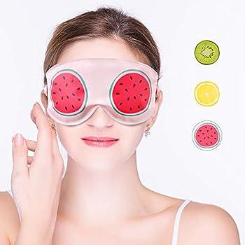 [Matériau et design haut de gamme] - Le masque pour les yeux en gel utilise un filament de polyester de haute qualité double face, un toucher doux, aucune facilité d'éclatement, un motif de fruits vifs vous donne un aspect différent [Zero Bondage] - ...