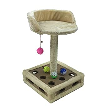 YLLYLL Arbre à Chat Activité Centre Kitten Scratching Post Kitty Tour d'escalade Mobilier Playhouse avec Dangling Boule Jouets Brown (Color : #3)