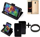 K-S-Trade® Case Schutz Hülle Für Leagoo Z6 + Bumper Handyhülle Flipcase Smartphone Cover Handy Schutz Tasche Walletcase Schwarz (1x)