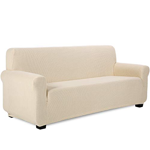 TIANSHU Funda de sofá 3 plazas Tejido Jacquard de poliéster y Elastano Fundas de sofá Suaves duraderas(3 plazas,Marfil)