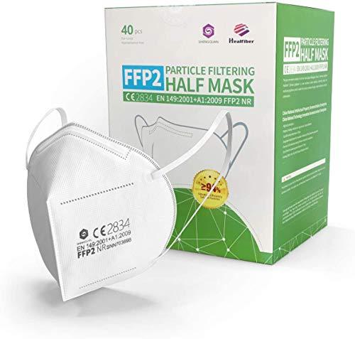 Protection Impuls 40 Stück - FFP2 Maske Atemschutzmaske CE2834 & EN149:2001+A1:2009 zertifiziert Mundschutz