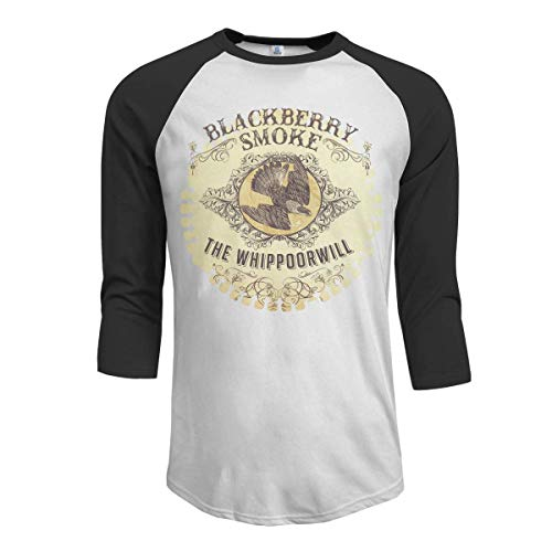 Pimkly Herren Tee T-Shirt, Men's BlackBerry Smoke The Whippoorwill 3/4 Sleeve Raglan Baseball T-Shirts Black