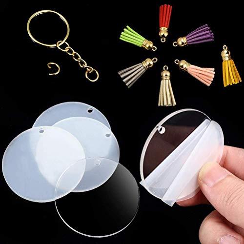 Atrumly Llavero redondo acrílico transparente con forma de círculo, llavero redondo transparente de acrílico en blanco y borla plateada para manualidades (24 piezas)