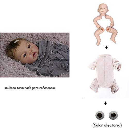Binxing Toys Kits de muñecas Reborn sin Pintar Modelo de Bricolaje en Blanco Cabeza + extremidades + Cuerpo + Ojos