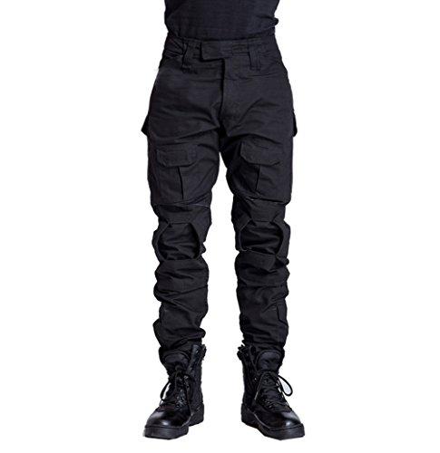 YuanDian Homme Tactique Militaire Camouflage Chasse Uniforme Ensemble Manches Longues Airsoft Combat T Shirt + Treillis Armée Pantalon Randonnée Outdoor Vêtements Noir Pantalon 36