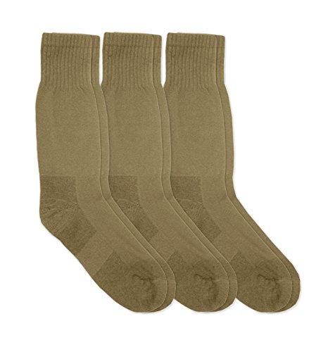 Jefferies Socks Mens Military Blister Guard Mohair Wool Combat Boot Crew Socks 3 Pair Pack (Sock:10-13/Shoe:9-12, Coyote Brown)