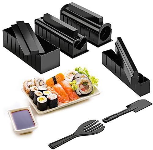 Hbsite Kit per Fare Sushi, 10 Pcs Principianti Pratico Strumento per Sushi, strumento per sushi domestico fai-da-te, Compatibile con 8 modalità di riso per sushi, con forchetta e spatola